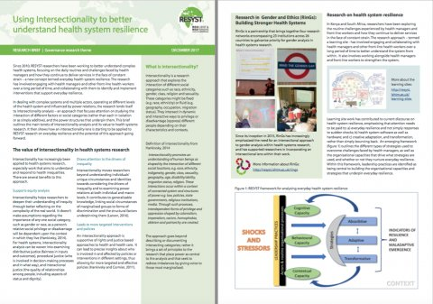 Using intersectionality to better understand health system resilience